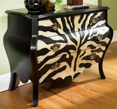Adds a bit of excitement with zebra pattern and curves of this three drawer chest. Hand Painted Furniture, Funky Furniture, Paint Furniture, Upcycled Furniture, Furniture Projects, Furniture Makeover, Furniture Online, Furniture Outlet, Furniture Design