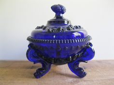 New Item! Vintage Westmoreland Glass Company Cobalt Blue Serpent Tri-Footed Candy Dish/Bowl-Nautical Sea Shells...Reshopgoods by Reshopgoods on Etsy