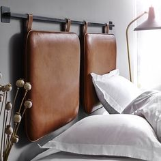 She's Darling Headboard Inspo Brown Leather Bed, Brown Leather Furniture, Leather Daybed, Brown Leather Chairs, Leather Headboard, Leather Pillow, Diy King Size Headboard, How To Make Headboard, Modern Headboard