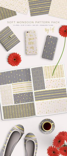 Gray pink and gold Digital papers pantone spring 2015 gold