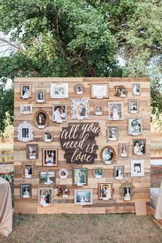 Creative Wedding photo display Ideas - - They say that looking into the details is the secret to having a successful wedding event. Part of these important details is your wedding reception decoration. Pallet Wedding, Wedding Wall, Diy Wedding, Wedding Ideas, Wedding Photos, Perfect Wedding, Wedding Themes, Wedding Reception, Dream Wedding