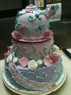 Trifles' Stacked Tea Party Birthday Cake