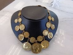 Vintage Crown Tag Trifari Chunky Roman coin necklace