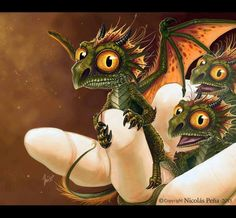 Haha, these baby dragons look so funny and cute...they remind me of the little ones from How To Train Your Dragon!