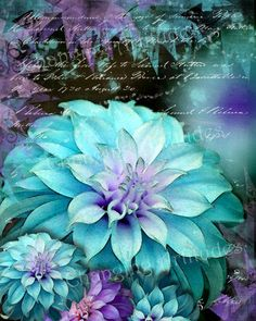 ART WATERCOLOR BLUE Dahlias Abstract Colorful by ChangingArtitudes
