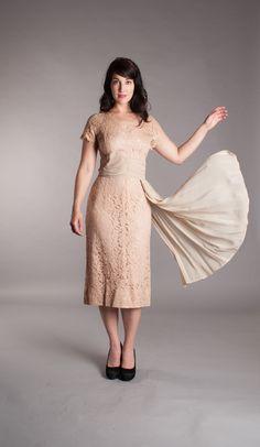 Lace 1950s Dress  Vintage 50s Cocktail Dress  by concettascloset