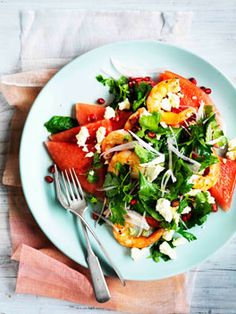 Watermelon, Persian feta, prawn and herb salad     |     Organize your favourite recipes on your iPhone or iPad with @RecipeTin! Find out more here: www.recipetinapp.com      #recipes #salad