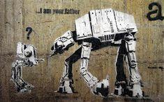 Banksy Your Father Street Art Graffiti Star Wars Real Canvas Art Print Banksy Graffiti, Stencil Graffiti, Arte Banksy, Graffiti Artwork, Street Art Graffiti, Bansky, Graffiti Images, Graffiti Designs, Graffiti Wallpaper