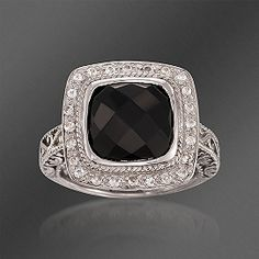 De Latori Jewelry Black Onyx and Rock Crystal Quartz Ring in Sterling Silver. Size 7