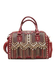 Nicole Lee Handbags Tatiana Chain-Fringe Boston Bag-Red $65 BrandsExclusive