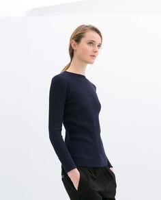Image 3 of DOUBLE CUFF RIBBED SWEATER from Zara