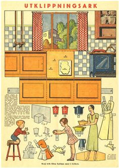 Vintage Swedish Kitchen Paper Model - by Muirgil`s Dream - == - A beautiful paper model from another era, when there was no Internet, video games and even television. Preserved and kindly shared by Muirgil`s Dream website. Paper Furniture, Doll Furniture, Dollhouse Furniture, Paper Doll House, Paper Houses, Vintage Paper Dolls, Vintage Toys, Casa Pop, Paper Art