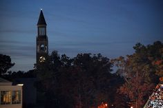 The bell tower at UNC-Chapel Hill at dusk