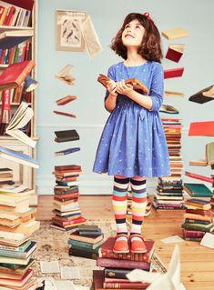 NWT Mini Boden Roald Dahl Girl Blue Matilda Alphabet Dress 6 7 w/ Striped Tights Mini Boden, Little Girl Dresses, Little Girls, Baby Dresses, Dress Girl, Roald Dahl Characters, Roald Dahl Stories, Matilda Costume, Matilda Roald Dahl