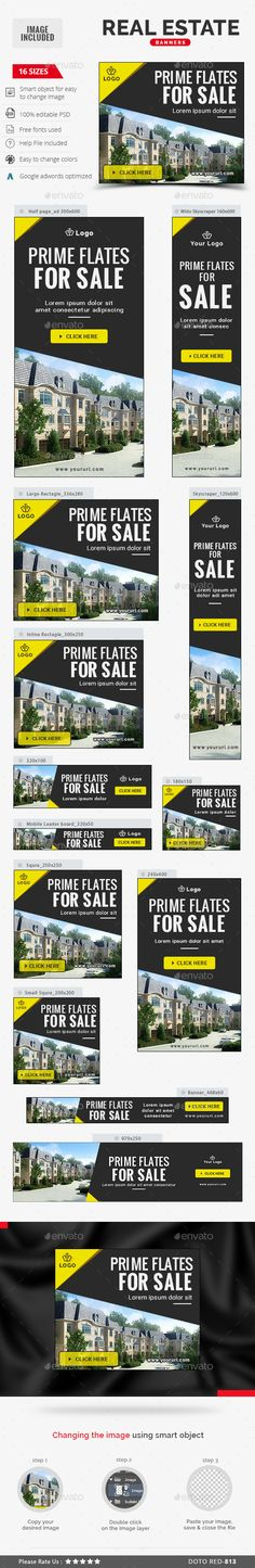 Real Estate Banners — Photoshop PSD #mortgage #real estate • Available here → https://graphicriver.net/item/real-estate-banners/13606507?ref=pxcr
