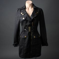 Long Sleeve Black Goth Agent Steampunk Military Belted Jacket Trench Coat