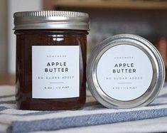 Modern Jar & Canning Labels Custom Durable Water and Oil Jam Jar Labels, Canning Jar Labels, Jam Label, Spice Labels, Mason Jar Lids, Pantry Labels, Labels For Jars, Honey Jar Labels, Canning Recipes