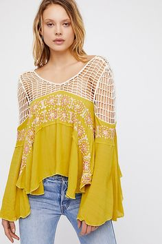 Bali S'il Vous Plaît Top from Free People! Fashion Details, Boho Fashion, Hippie Style, My Style, Grey Pencil Skirt, Tees For Women, Future Fashion, Lace Tops, Bell Sleeves