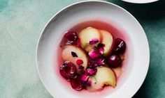 White peach, cherry and rose-petal jelly.