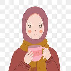 Cartoon Pics, Girl Cartoon, Cute Cartoon, Cartoon Art, Illustration Girl, Portrait Illustration, Girl Illustrations, Anime Muslim, Muslim Hijab