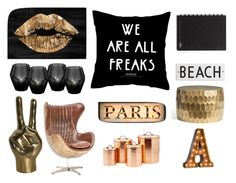 Love black & white & gold  by oliviampurcell on Polyvore featuring polyvore, interior, interiors, interior design, home, home decor, interior decorating, Pottery Barn, Eichholtz, Rosanna and Oliver Gal Artist Co.