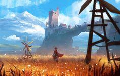 By Gabriel Gomez on Artstation Fantasy Art Landscapes, Fantasy Landscape, Landscape Art, Fantasy Concept Art, Fantasy Artwork, Fantasy City, Fantasy World, Art Environnemental, Landscape Concept