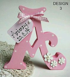 Freestanding Personalised Wooden Letters Handmade, Personalised Gift, Names Diy Letters, Letter A Crafts, Painted Letters, Wood Letters, Letters And Numbers, Decorating Wooden Letters, Decorate Letters, Name Letters, Floral Letters