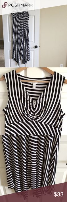 Chico's black and white striped dress V neck maxi dress with asymmetrical hem.  Super cute dress in great condition.  Chico's size 1 (8-10). Chico's Dresses Maxi