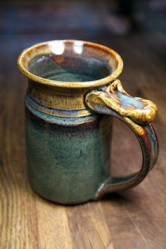 Tankard Mug in Brown glaze - nice glaze, cool handle