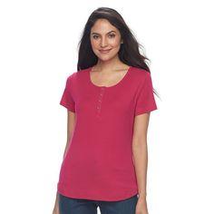 Women's Croft & Barrow® Henley Tee, Size: Medium, Dark Pink