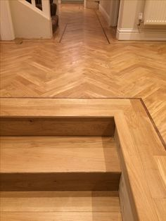Oak Herringbone and steps, laid sanded and sealed with Bona HD Traffic. Timber Flooring, Parquet Flooring, Hardwood Floors, Planchers En Chevrons, Pose Parquet, Wood Floor Design, Hall And Living Room, Tile Steps, Herringbone Wood Floor