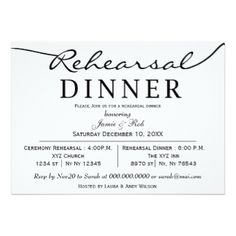 """Before you say """"I do"""" officially, a trial run is in order. Invite your relatives and close friends to your rehearsal dinner with any of a huge selection of stock or custom invitations. Choose from a variety of styles, sizes and paper types or customize to suit your fancy, adding your own photographs. You can even print your invitations on high quality vinyl laminated magnetic cards with a high gloss finish and full-color printing. Need more wedding stuff?  Visit us at…"""