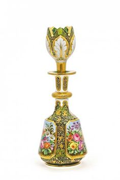Lot: c1850 Bohemian enameled cased glass perfume bottle., Lot Number: 0018, Starting Bid: $1,500, Auctioneer: Perfume Bottles Auction, Auction: Perfume Bottles Auction, Date: May 2nd, 2015 EDT