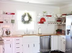 Lovely Kitchen transformation from the fabulous blog:  Beneath my Heart.  Thank you Traci~~~   http://www.beneathmyheart.net/