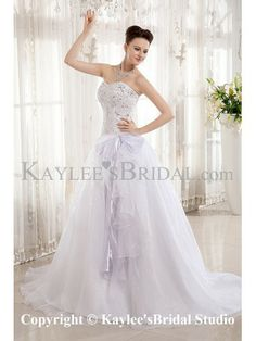 Organza and Charmeuse Sweetheart Court Train A-Line Wedding Dress with Embroidered and Sequins
