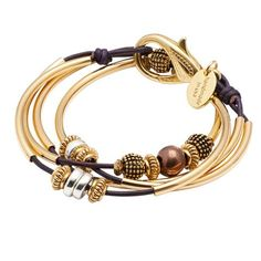 Mini Ginger Gold 2 strand leather wrap bracelet in Gloss Purple leather