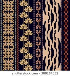 Boho style luxury wallpaper. Set of geometric ornaments, damask border, leaves stripe, zebra pattern. Vintage textile collection. Golden and cooper shadows on dark blue.