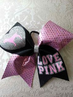 LOVE PINK Cheer Bow by GlamourBowsByAnna on Etsy
