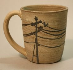 POWERLINES Stoneware Mug by GBG by GBGpottery on Etsy powerlin stonewar, lineman wife, lineman mug