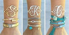 $7.99 - Monogram Initial Bangles - Silver & Gold! - http://www.pinchingyourpennies.com/7-99-monogram-initial-bangles-silver-gold/ #Jane, #Monogrambracelet, #Pinchingyourpennies