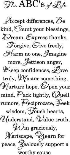 The ABC's of Life!