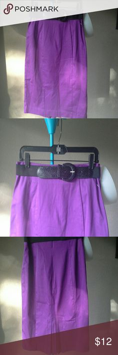 Cute purple midi skirt GORGEOUS purple midi skirt with stretch belt and adorable pleats in back. Very feminine and flattering. Wear from day to night. In great condition. 56 % Cotton/ 42% Nylon/ 2% Spandex so it has a little stretch. Size 12 petite but fits more like a 10. No splits in skirt, zippered in back. Belt is included but removable. Very modest & classic! Worthington Skirts Midi