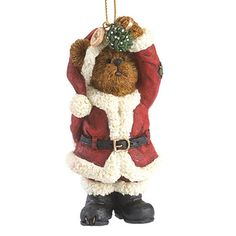 Klaus Smoochbeary Item:#4041873 Find A Retailer This festive Bearstone ornament features Klaus Smoochbeary, who is on the lookout for the perfect smooch! Klaus is ready to pucker up in his best Santa suit, and carrying mistletoe in paw hoping the right gal comes along! Attached 2014 dated charm flips over to reveal a holly design.