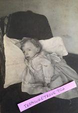 Haunting Antique Post Mortem Child Vintage Photograph Little Girl cabinet photo