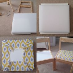 """Revision of the IKEA LATT chairs and tables. 1 """"foam covered with a printed canvas material Easier than expected! Ikea Kids Table And Chairs, Ikea Table Hack, Kid Table, Chaise Ikea, Ikea Chair, Diy Chair, Ikea Furniture Hacks, Kids Furniture, Furniture Removal"""