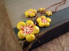 Yellow Flower necklace. Spring dasiy beads. Handmade jewelry.  by TheAmethystDragonfly on Zibbet