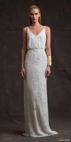 "Limor Rosen 2016 Wedding Dresses — ""Treasure"" Bridal Collection | Wedding Inspirasi | ""Sarina"" -- Beaded Lace Column/Sheath Wedding Gown Showcasing A Sleeveless Blouson Bodice With V Neckline & Spaghetti Straps××××"