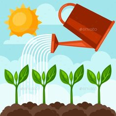 Illustration of Watering Plants from Can by incomible Zip file contains fully editable RGB vector file and high resolution pixels RGB Jpeg image. It does not contain gradients, tr Plant Lessons, Watering Plants, Abc Cards, Classroom Labels, Plant Vector, Plant Images, Bible Activities, Bear Wallpaper, Plant Needs