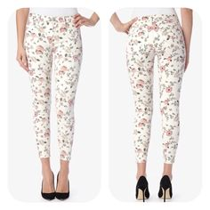 "Hudson Super Skinny Ankle Jeans in Sanctuary Floral patterns bring a dainty edge to these 5-pocket Hudson skinny jeans. Single-button closure and zip fly.  Fabric: Stretch denim. 91.5% cotton/6% polyester/2.5% lycra spandex. Wash cold. Made in the USA.  Measurements Rise: 9"" Inseam: 28.25"" Leg opening: 9.75"" Hudson Jeans Jeans Skinny"