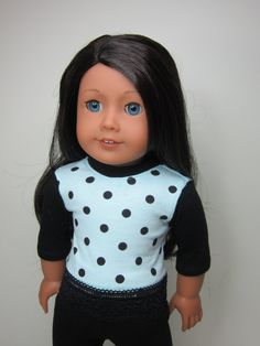 American Girl doll clothes -  Mint green and black  top by JazzyDollDuds